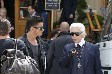 Karl Lagerfeld Baptiste Giabiconi Karl Lagerfeld Films a Chanel Commercial
