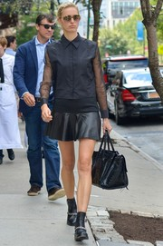 Karolina Kurkova topped off her edgy all-black ensemble with a textured leather tote while out for a stroll in New York City.