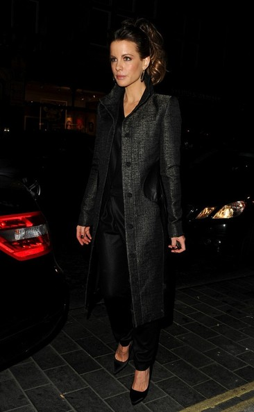 Kate Beckinsale Tweed Coat