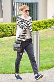 Kate Mara was spotted out looking stylish in a black-and-white striped cardigan.