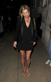Kate Moss hit the town wearing a classic LBD and black blazer.