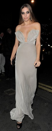Amber Le Bon's gray strapless gown, featuring a bodice shaped like bunny ears, looked like a fitting tribute to Playboy when she attended the magazine's 60th anniversary issue party.