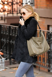 Kate Hudson was spotted out and about in New York, toting an embossed leather shoulder bag.