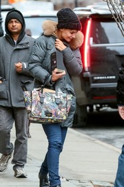 We're crushing on Katie Holmes' colorful Valentino butterfly-print tote!