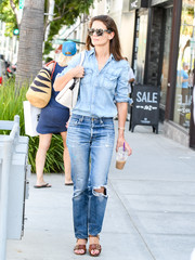 Katie Holmes was casual and cool in a faded denim button-down while running errands in LA.