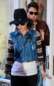 Katy's distressed denim vest gave her preppy sweater an instant dose of Brooklyn-cool.