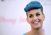 Katy Perry promoted her new false eyelash collection with Eylure wearing a bright blue-based pink lipstick.