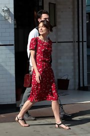 Keira's red floral frock is perfect for a summer or fall weekend.