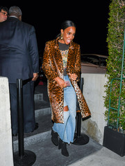 Kelly Rowland bundled up in a chic leopard-print coat for a night out in LA.