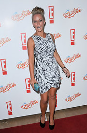 Kendra Wilkinson donned a white print cocktail dress with delicate draping for the promotion of her new show 'Kendra.'