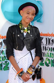 Willow Smith got eclectic at the Kids' Choice Awards in this cropped black jacket and beaded collar.