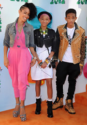 Jaden Smith wore lace-up boots and a leather jacket in matching colors to the 2012 Kids' Choice Awards.
