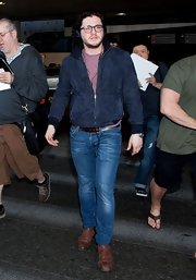 Kit Harington stepped out in this retro-style blue bomber.