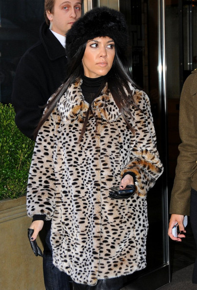 Kourtney Kardashian Fur Hat