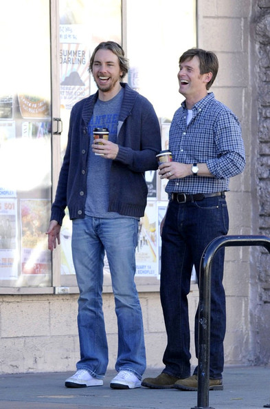 Dax Shepard cozied up in a gray shawl-collar cardigan on the set of 'Parenthood.'