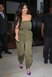 Kylie Jenner styled her look with chic purple lace-up pumps by Francesco Russo.
