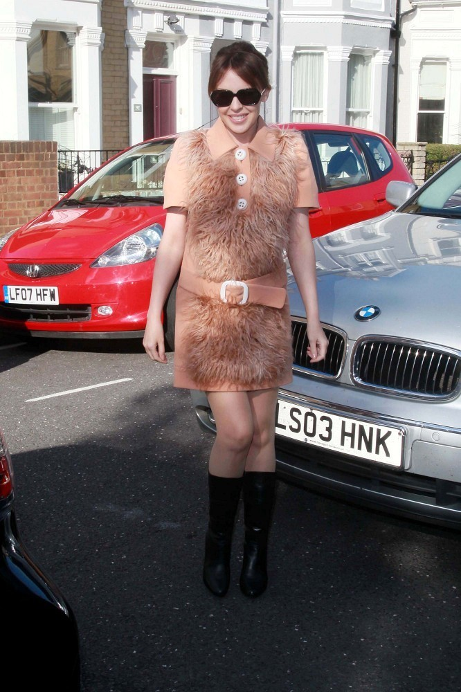 Kylie Minogue is seen arriving at her management companies London headquarters.