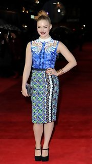 Holliday Grainger pulled off a print pencil skirt at the closing gala of the London Film Festival.