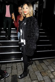 Jourdan Dunn kept cozy in a black teddy bear fur coat as she arrived for the Fashion for Relief charity show.