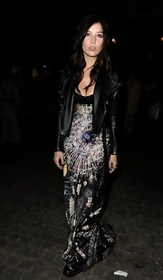 Daisy Lowe paired a black leather jacket with a maxi dress for an added bit of edge to her look.