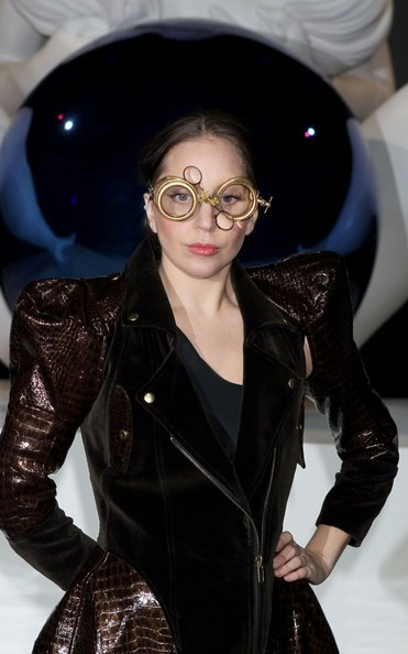 Lady Gaga showed off her unique style with these steampunk goggles by Charlie Le Mindu during her album release party.