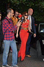 Lady Gaga wore this daring vintage red bandage-meets-cutout dress on her way to a private Versace dinner.