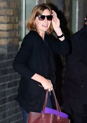 Laura Carmichael was seen wearing a pair of classic wayfarer sunnies at the London Studios.