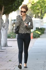 Lauren Conrad looked like a timeless beauty in a classic leopard-print blouse.