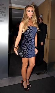 Lauren went for a bite to eat at Nobu in a lovely leopard print mini dress.