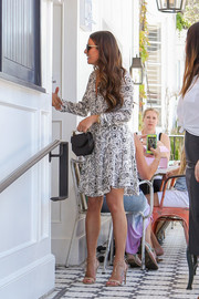 Lea Michele was a cutie in a black-and-white printed mini dress by A.L.C. while visiting Au Fudge.