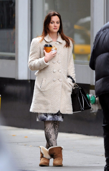 Leighton Meester Spotted in Retro Coat, Patterned Tights ...