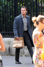 Leonardo DiCaprio looked dapper on the set of 'Inception' in a slate-blue coat layered over a button-down and slacks.