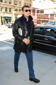 Liam Neeson's leather jacket was a cool and chic choice for the actor on a cool NYC day.