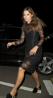 Keira Knightley contrasted her delicate dress with chunky, vintage-style Miu Miu pumps.