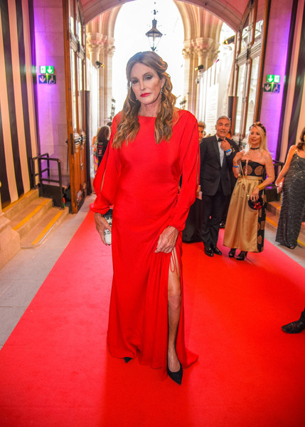 Caitlyn Jenner donned a long-sleeve red gown with a high side slit for the 2018 Life Ball.
