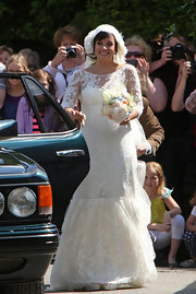 Lily Allen was married at the St. James church in a frothy white lace wedding dress.