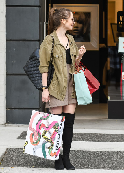 Lily Collins Quilted Leather Bag []