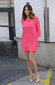 Lisa Snowdon chose this hot pink day dress to give her daytime look some added spice.
