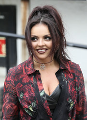 Jesy Nelson rocked a punky ponytail while visiting the ITV Studios.