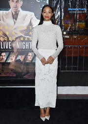 Zoe Saldana was winter-chic in a fully beaded white turtleneck by J. Mendel Couture at the LA premiere of 'Live by Night.'