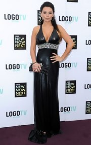 JWoww stuck to her signature edgy style with this leather halter dress.