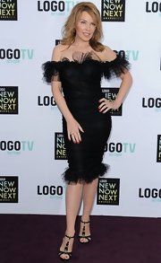Kylie Minogue showed her curves with this off-the-shoulder LBD that featured tulle ruffles.