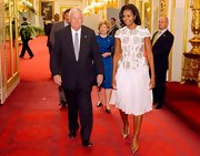 Michelle Obama looked totally elegant all the way down to her silver pointy pumps.