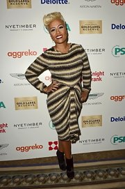 Streamlined black ankle booties were a fashionable finishing touch to Emeli's event look.