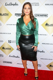 Ashley Graham rounded out her look with black ankle-strap peep-toes.