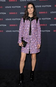 Jennifer Connelly was equal parts girly and edgy in a fully embroidered, leather-trimmed mini dress by Louis Vuitton during the brand's Series 2 exhibition.