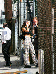 Madison Beer accessorized with a chic black Chanel backpack while visiting 'Kimmel.'