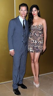Camila Alves looked fierce in her leopard print strapless number at the 'Magic Mike' premiere in London.