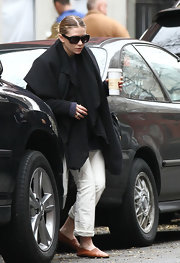 "Ashley went comfy-chic when she stepped out for cup of joe in a $395  soft pair of ""Jacks Leather Shoes."""