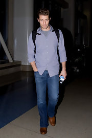 Matthew Morrison stepped out in cognac leather loafers.